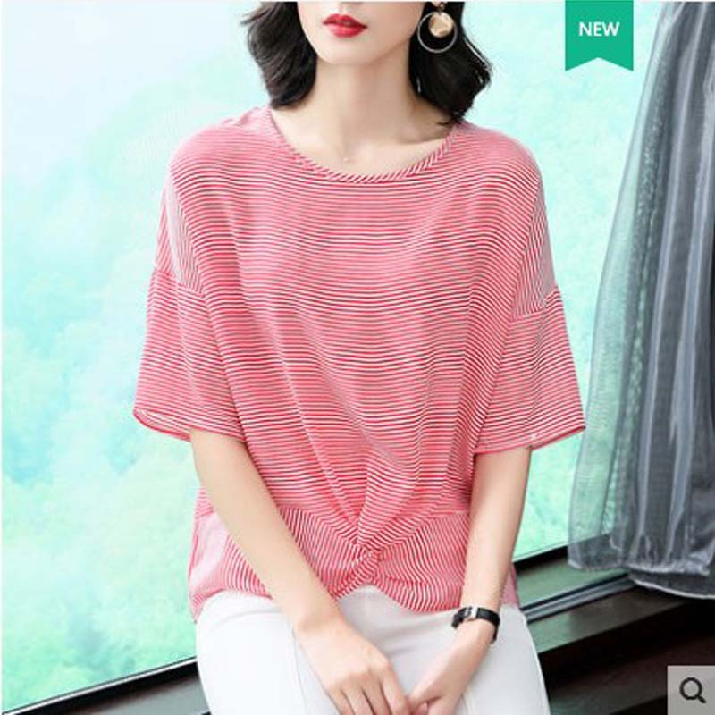 mixueya ठीक धारीदार दौर गर्दन - महिलाओं के कपड़े