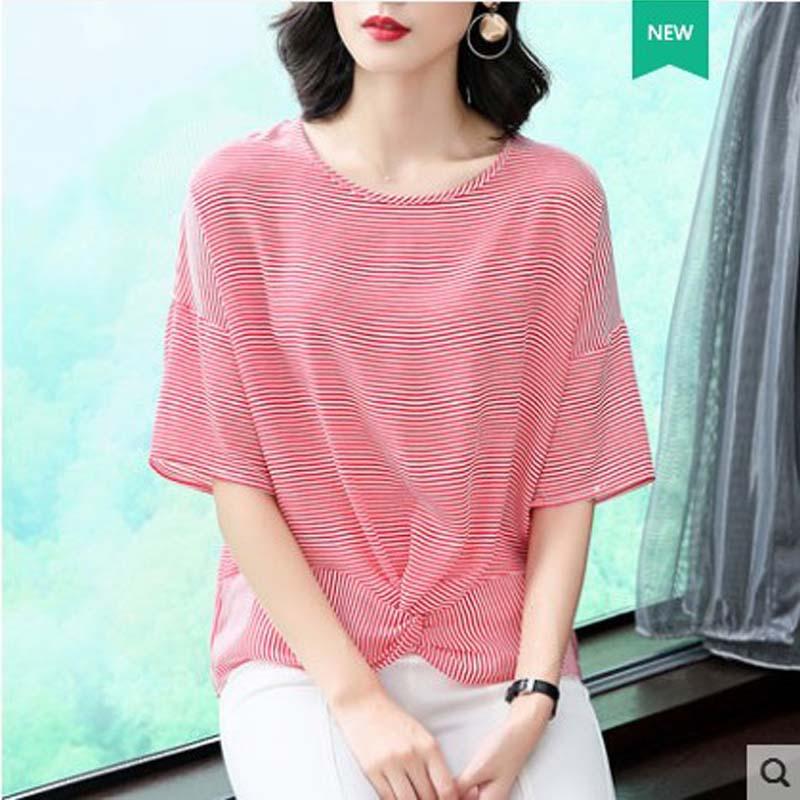 mixueya غرامة مخطط جولة الرقبة الحرير - ملابس نسائية