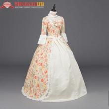 Top Sale Print Marie Antoinette Renaissance Dress Christmas Ball Gown Steampunk Reenactment Theatre Party Costumes