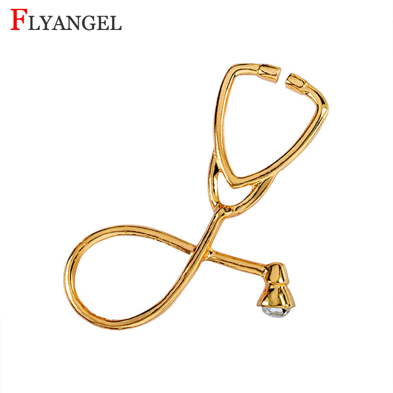 Fashion Creative Stethoscope Brooch Gold/Silver Color Shawl Kilt Pin Men Women Clothes DIY Jewelry Gift For Doctor Nurse Friends