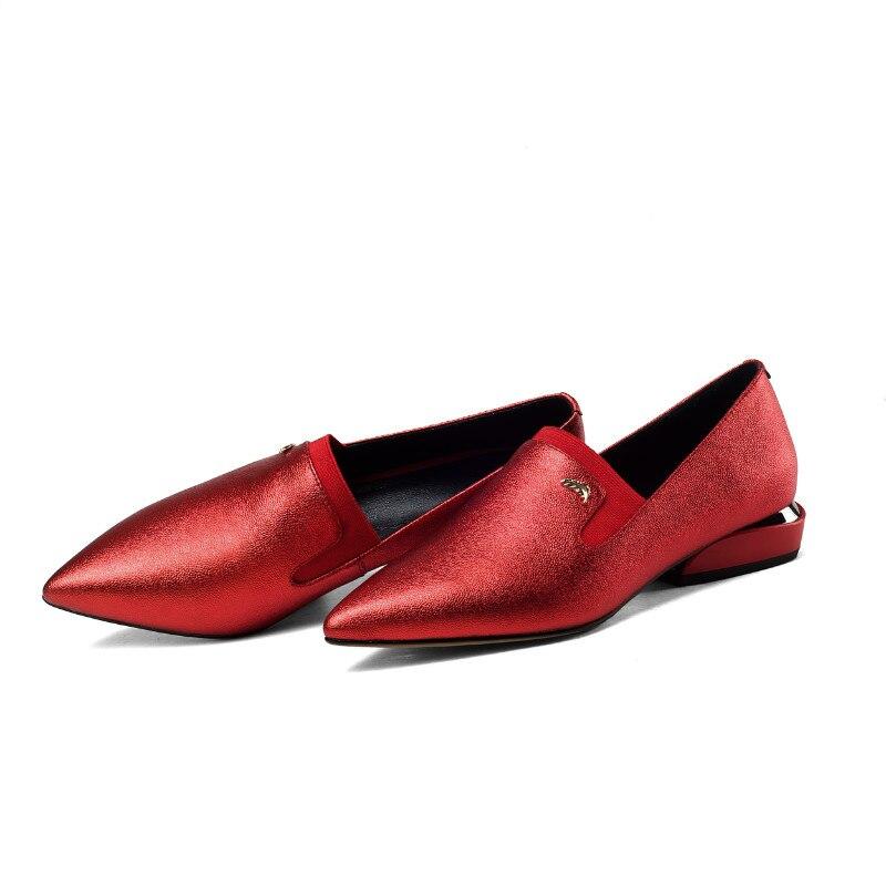 Vintage En 2 Rouge Classique Glissement 3 Casual black Black Noir 2 beige Véritable 1 Cuir Pour red Ballerines Ballerine 1 Femmes D'été Femme Chaussures black Xiuningyan Sur red vRwO6qX6
