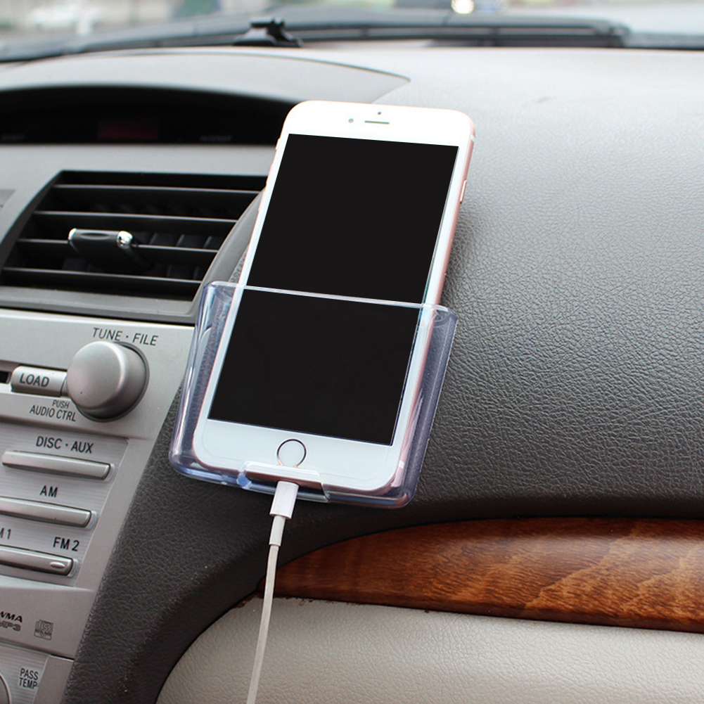 Transparent Car Universal Phone Holder ABS Automobile Storage Car Mobile Phone Charge Box 97X70X20mm car-styling