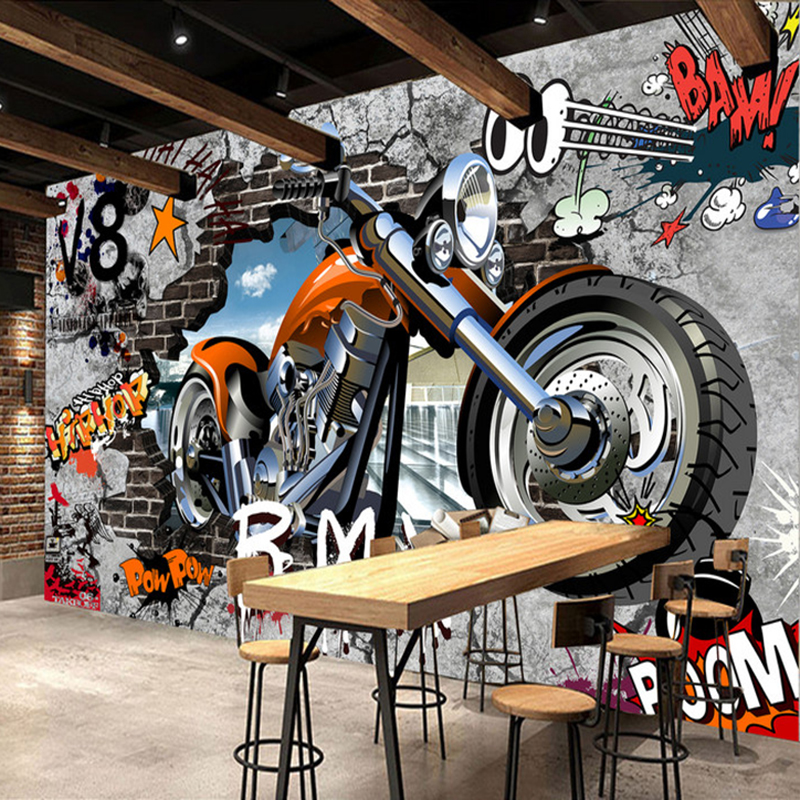 3D Wall Mural Personalized Customization Motorcycle Street Art Graffiti Wallpaper Cafe KTV Bar Kid's Room Wall Covering Frescoes free shipping personalized fashion figure puzzle 3d wallpaper salon bedroom wallpaper background bar ktv mural
