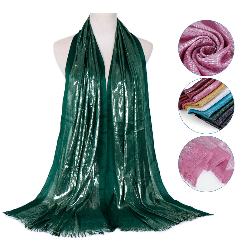 Glitter hijab soft   scarf   tassels shimmer silver shawls muslim plain   scarves     wraps   cotton headband   scarves   10pcs/lot