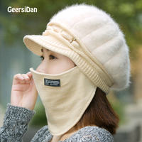 GEERSIDAN 2017 New Women S Rabbit Fur Knitted Beanies Fashion Beret Hat With Velvet Inside Anti