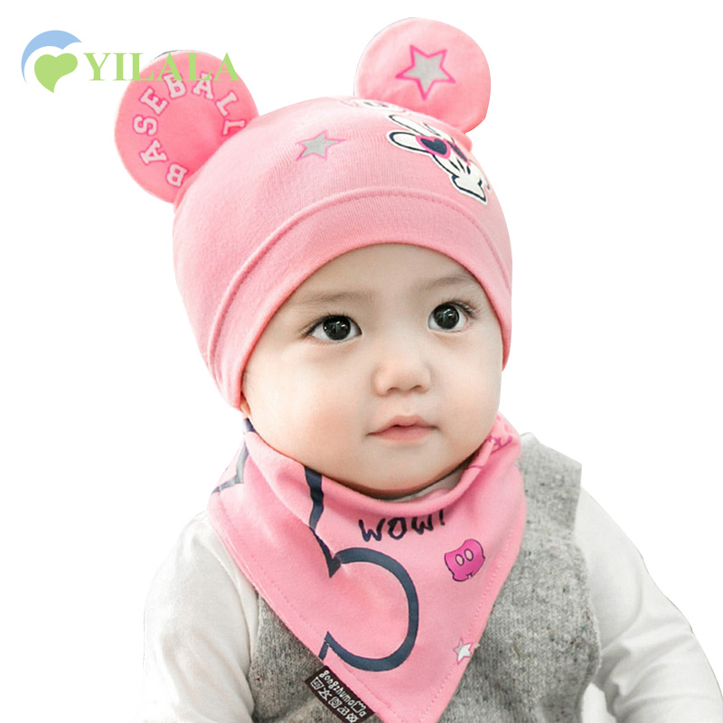 2pcs Cute Baby Hat Bib Set Solid Cotton Kids Hat With Mouse Ears Soft Baby Bib Spring Star Girl Boy Hat Letter Mouse Ears Beanie