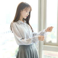 2017 Spring And Summer New Lantern Horn Sleeve White Chiffon Shirt Female Sleeves Loose Small Fresh