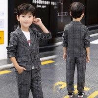Fashion Children's Blazer Suit Baby Boys Plaid Blazer Coat+pants 2Pcs Sets Kids Boys Wedding Costumes Children Gentleman Suit