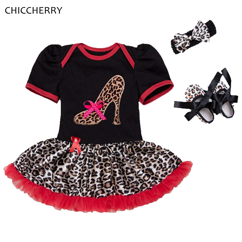 Leopard Heels Applique Baby Lace Romper Set with Headband Crib Shoe Newborn Clothing Baby Girl Clothes Conjunto Infantil Menina