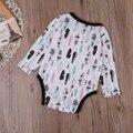 Outono de Algodão Crianças Recém-nascidas Do Bebê Menina Menino Quente folha de Manga Longa Romper Macacão Roupas Outfits