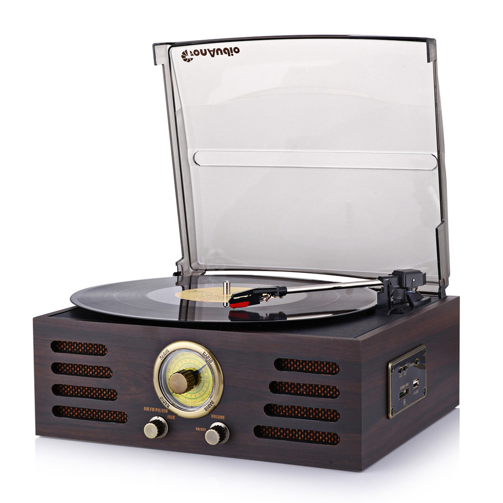 Bluetooth 3-Speed Stereo Turntable Phono LP Vinyl Record Player with Remote Control Built-in USB/SD Player FM Radio and Speakers купить недорого в Москве