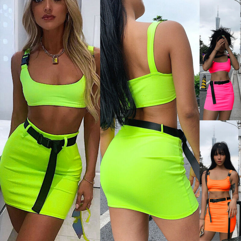 Sexy Women Clothes Set Neon Green Tank Top Short Skirt Set Arrival Womens Matching Sets Party Outfits Ladies Clothes Summer Set