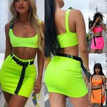 Sexy Women Clothes Set Neon Green Tank Top Short Skirt
