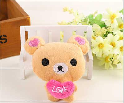 2 pçs kawaii em pé 10 cm amante rilakkuma urso de pelúcia brinquedo recheado, boneca figura macia, saco pingente charme brinquedo