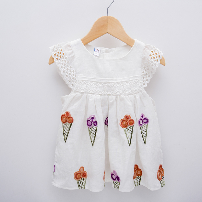 100% Cotton Baby Girls Dresses Lace Decoration Newborn Dress Icecream Embroidery Toddler Girls Clothing With Soft Airy Lining