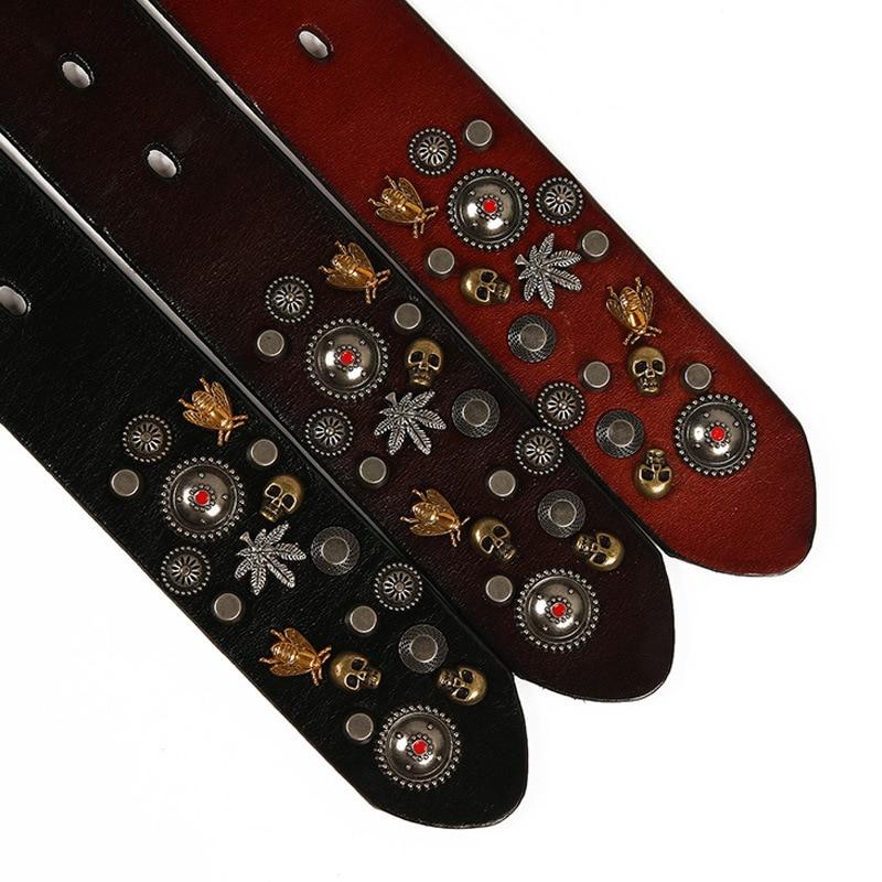 ZAYG Punk Men and Women Pin Buckle Belt Pure Copper Multicolored Bee Rivets Belt Cowhide Simple Wild Casual Pants Jeans Belt