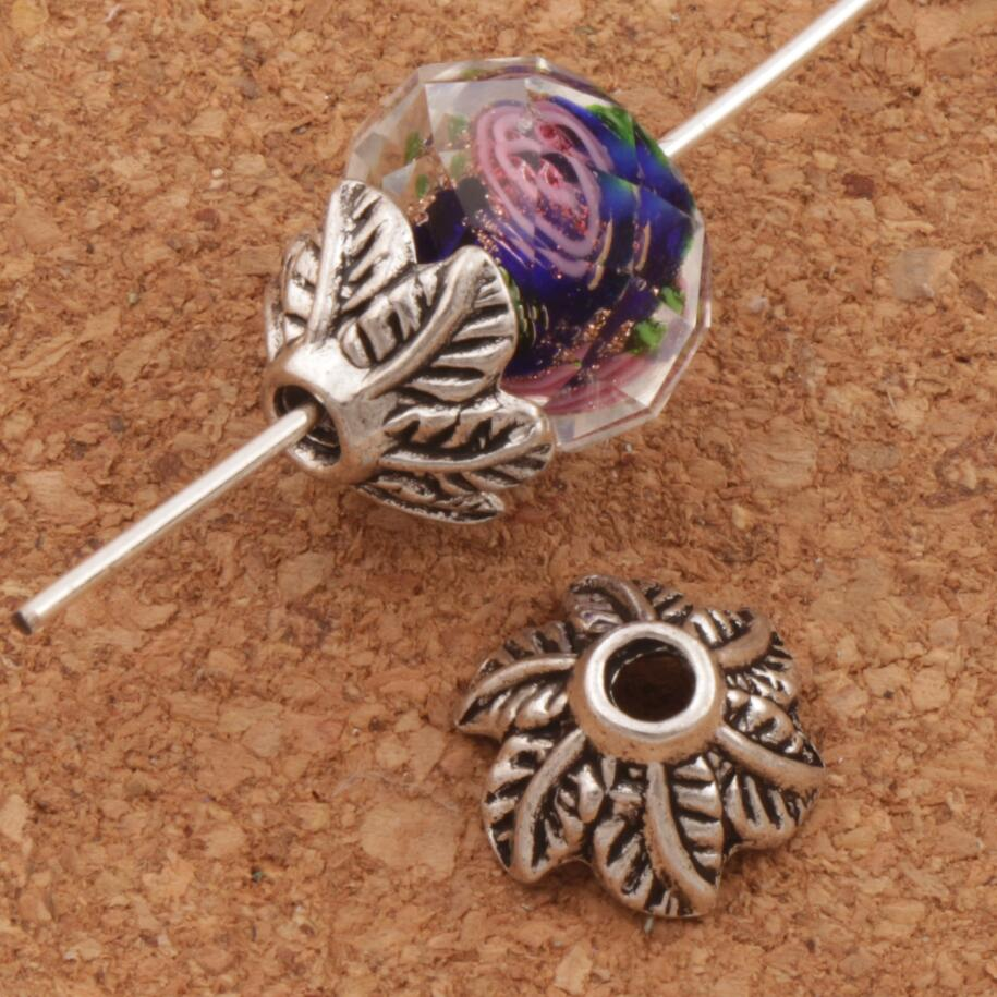 Leaf Cone End Caps Bead Cap Jewelry Findings Components L1065 43pcs 10.9x10mm Antique Silver