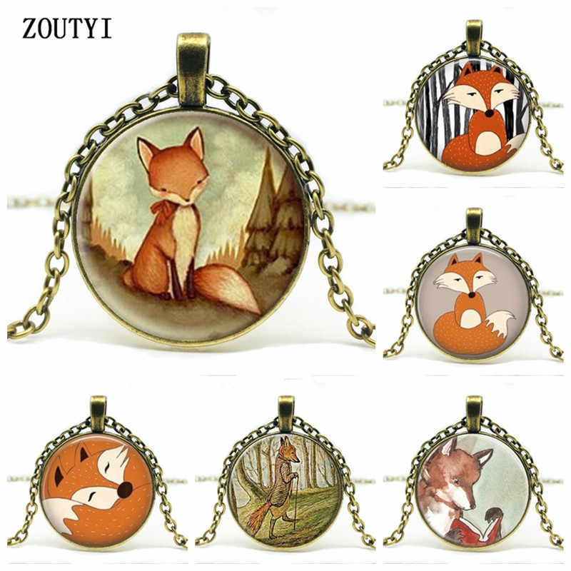 2018/SUTEYI latest Fox statement necklace biological watercolor woodland glass convex round pendant necklace jewelry