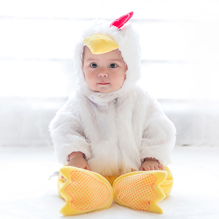 Baby Snowsuit Newborn Fur Christmas Halloween Jumpsuits Winter 2017 Infant Romper Chicks Jumpsuit Baby Clothes Animal Cosplay twinsbella baby romper 2017 new fashion infant animal penguin cosplay costume child autumn winter christmas jumpsuit clothing