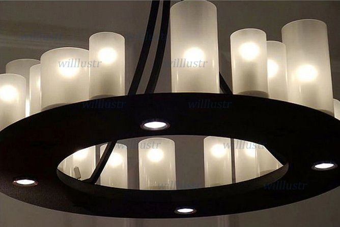 Modern suspension lamp LED candle chandelier Kevin Reilly hemel math ring Light Innovative small and large size milk white glass
