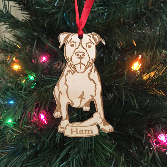 Pitbull Christmas Ornament.Us 6 86 20 Off Personalized Dog Ornament Dog Lover Gift Pit Bull Pitbull Ornament Pit Ornament Christmas Holiday Ornament In Pendant Drop