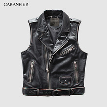 CARANFIER Mens 100% Cowhide Vests Brand Angel Motorcycle Biker Sleeveless Jacket Male Genuine Leather DHL Free Shipping