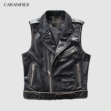 CARANFIER Mens 100% Cowhide Vests Brand Angel Motorcycle Biker Sleeveless Jacket Male Genuine Leather Vests DHL Free Shipping(China)