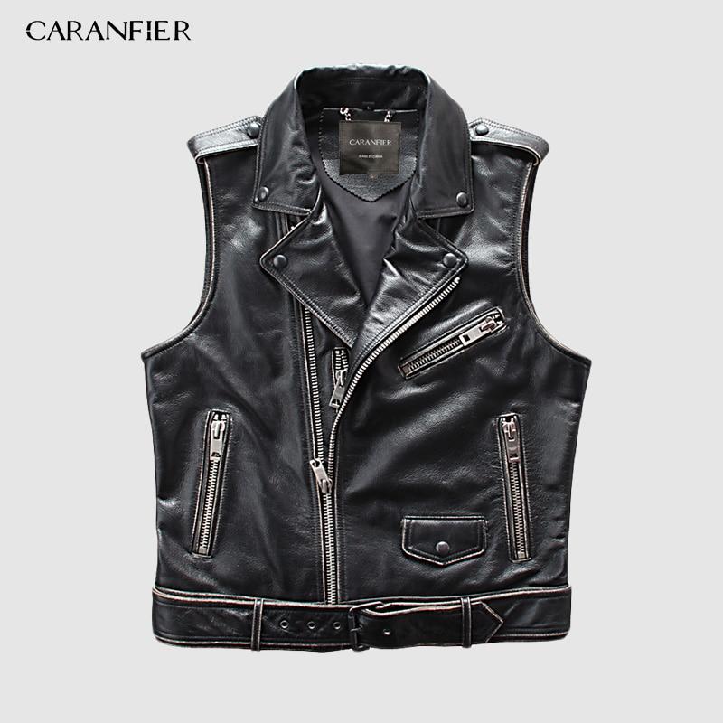 CARANFIER Mens 100% Cowhide Vests Brand Angel Motorcycle Biker Sleeveless Jacket Male Genuine Leather Vests DHL Free Shipping