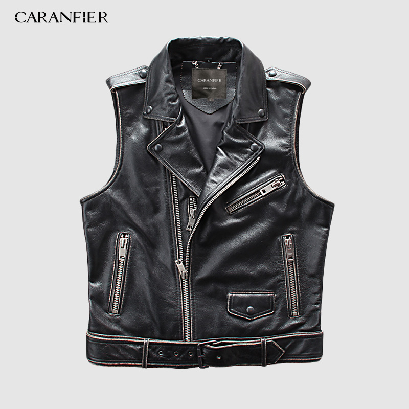CARANFIER hommes 100% peau de vache gilets marque ange moto Biker veste sans manches homme en cuir véritable gilets DHL livraison gratuite
