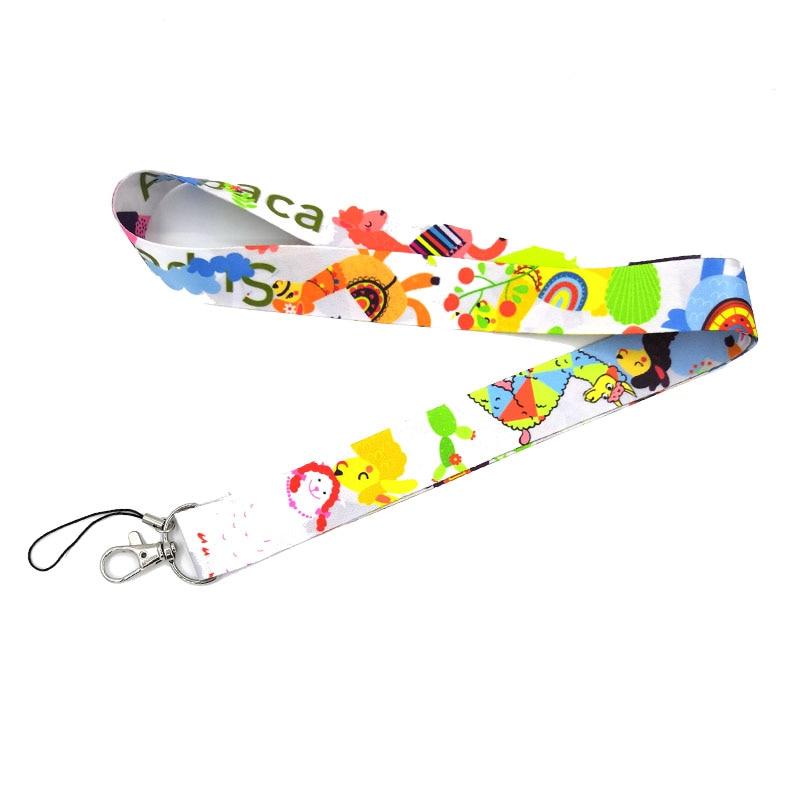 Regooly RE12 Cartoon Alpaca Llama Neck Strap Lanyard Keychain Mobile Phone Strap ID Badge Holder Rope Key Chain Keyrings Cosplay