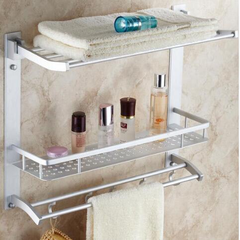 Bon Wall Mounted Antique Space Aluminum 2 Layer Bathroom Shelf Bathroom Shampoo  Shelf Bath Shower Shelf Bathroom Accessories