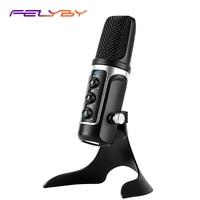 Felyby usb microfone condensador vem com placa de som computador plug and play real-time monitor microfone gravação conferência