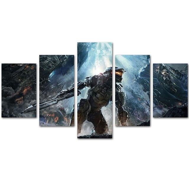 MingTing 5 Panel Canvas Wall Art Halo Legend Movie Poster Painting ...