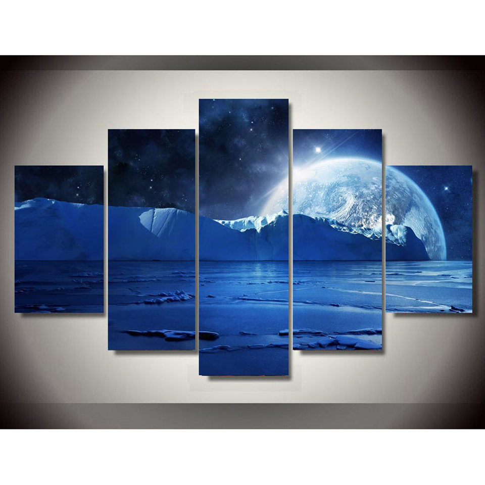 HD Prints Canvas Pictures Modular Poster 5 Pieces Moon Night View Frame Abstract Painting Decor Modern Home Living Room Wall Art in Painting Calligraphy from Home Garden