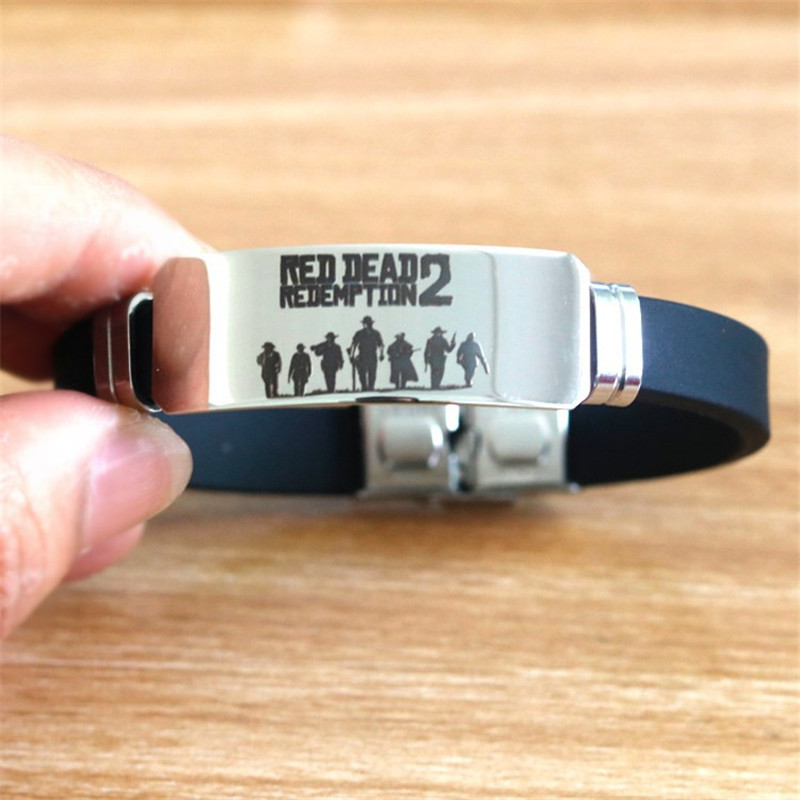 Hot Game Red Dead Redemption 2 Bracelet Cosplay Props Stainless Steel Adjustable ID Bracelets Women Man Christmas Gifts