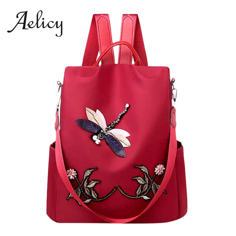 Aelicy Embroidery Fashion Satchel Women Anti-theft Backpack Waterproof Lady Leisure Travel Shoulder Bag Multi-Use 2019