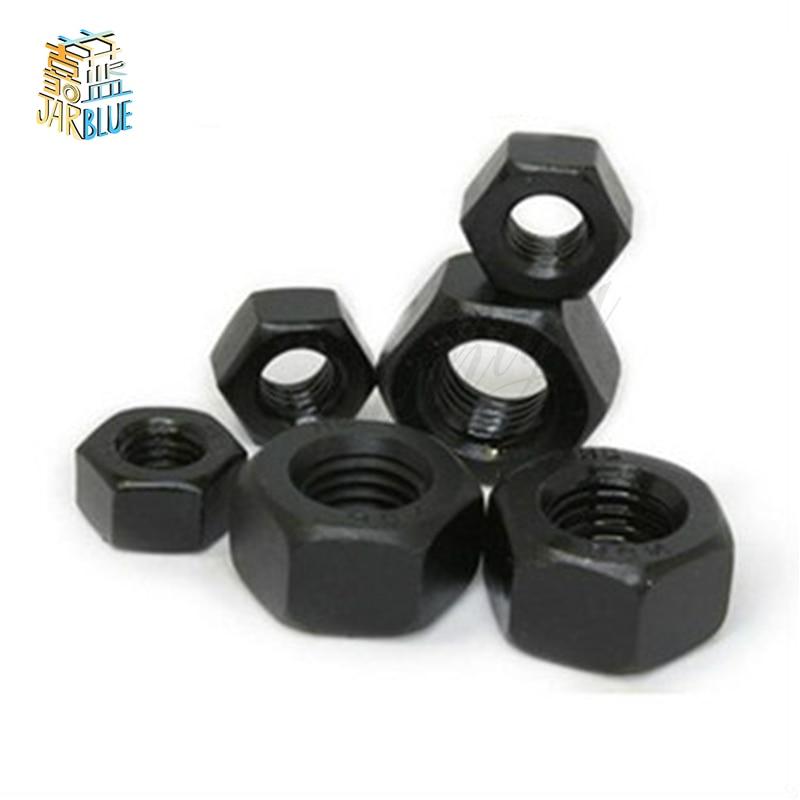 5/10/100pcs Metric Thread M2 M2.5 M3 M4 M5 M6 M8 M10 M12 M14 M16 Black Grade 8.8 Carbon Steel Hex Nut Hexagonal Nut Screw Nut