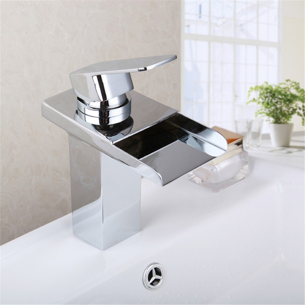 soild brass chrome finish bathroom faucet color led waterfall washbasin faucets square spout tall tap цена