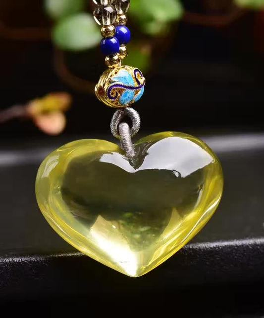Natural citrin e yellow creastly heart stone pendants necklace lucky natural citrin e yellow creastly heart stone pendants necklace lucky fine carving pendants for women men aloadofball Image collections