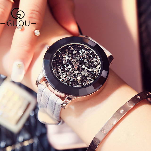 GUOU Women's Watches Luxury Rhinestone Diamond Watch Women Watches Genuine Leath