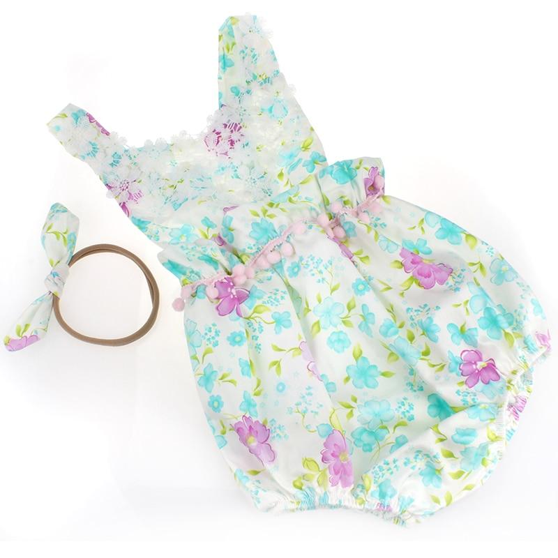 2016 Blomma bomull Småbarn Barnkläder Set, Lace Ärmlös Nyfödd - Babykläder