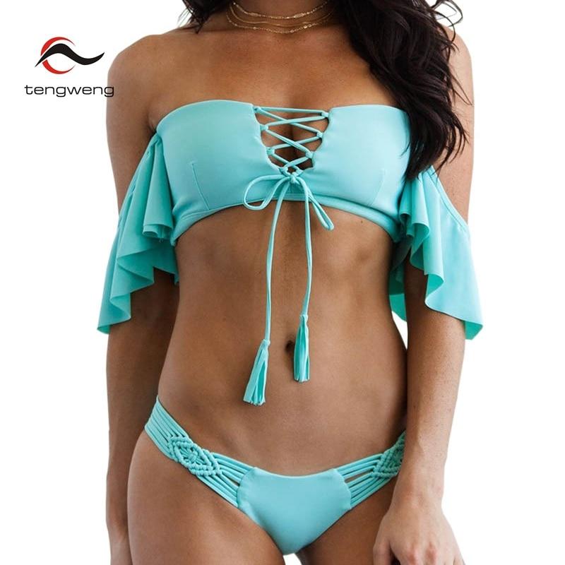 HTB1y8csh9fD8KJjSszhq6zIJFXa1 - Tengweng 2019 Sexy Off shoulder Ruffle Bikini Blue Push up Women Swimwear Thong Bandeau Swimsuit Brazilian Female Bathing suit