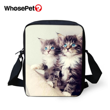 WHOSEPET Women Messenger Bags Kawaii Baby Cats Cross Body Shoulder Animal Cool Girls School Lady Mini Flap Postbags