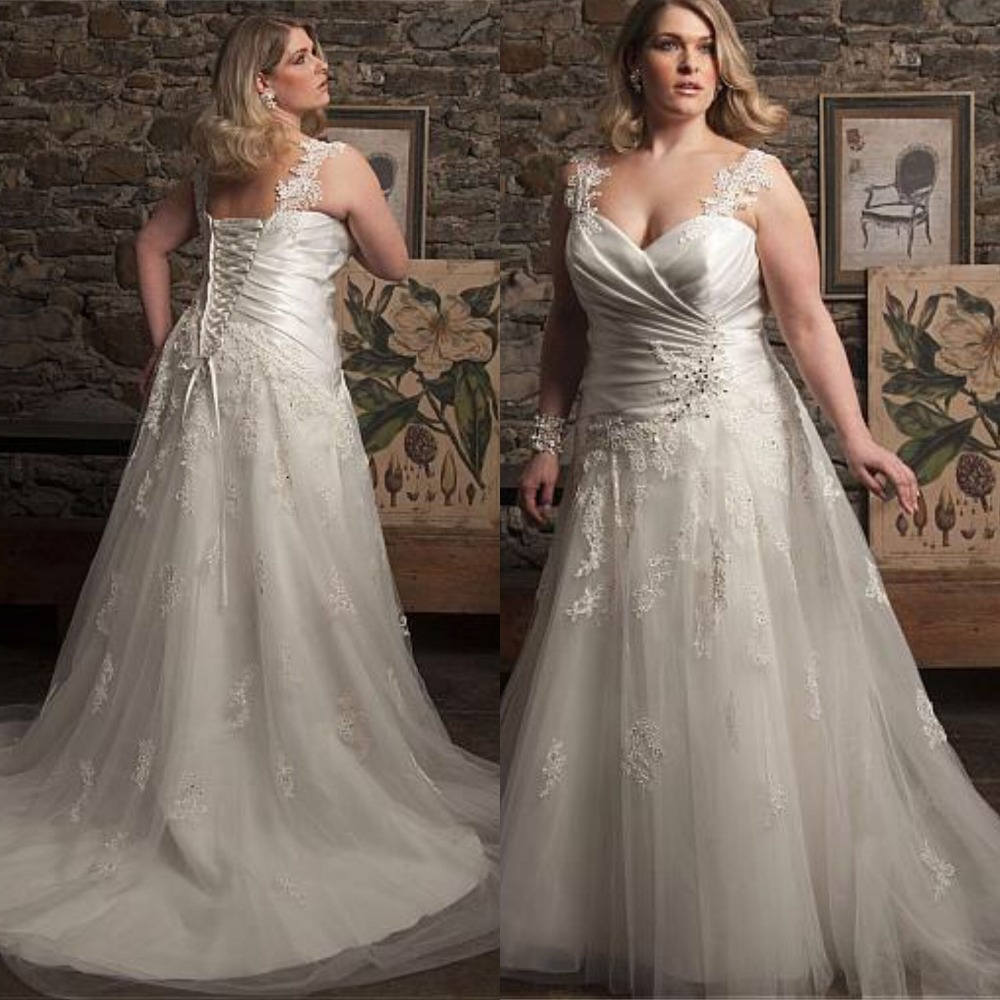 Плюс изысканные Размеры Милая Кружева свадебное платье Спагетти ремень платья Ruched аппликации Свадебное платье Длинные