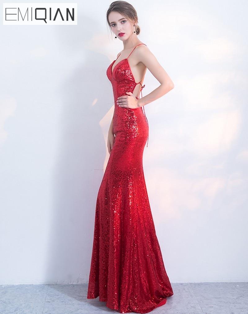 NOVO Designer Red Sequin Formal Prom Party haljina Spaghetti remen - Haljina za posebne prigode - Foto 4