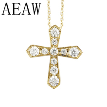 transgems 14k white gold cross shaped 1 1 ctw 3mm f color moissanite brilliant cross pendant necklace for women birthday gifts AEAW Solid 14K Yellow  Gold Lab Grown Moissanite Diamond Cross Pendant Necklace For Women