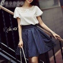 dabuwawa shirt female 2017 summer white short sleeved casual o neck large sizes new fashion loose blouse women wholesale