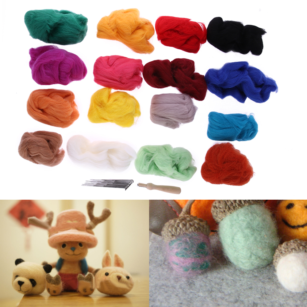 16 Colors Wool Felt with 9 Needles for Felting Handle Mat Set Starter Kit DIY Handwork Craft Home Sewing Tools Accessory