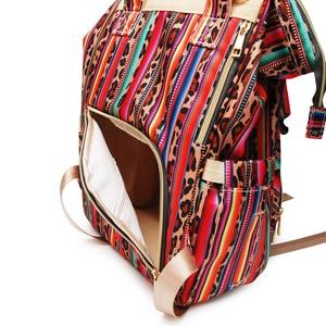 Image 5 - Рюкзак для мам с леопардовым принтом, дорожная сумка для подгузников с несколькими карманами, тканевая сумка для ухода за ребенком