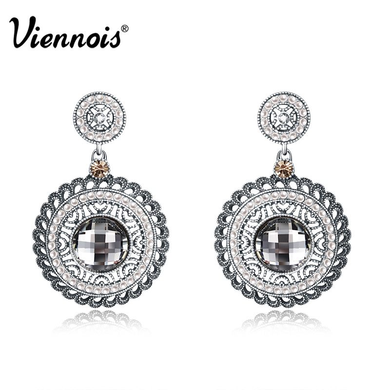 Viennois Antique Silver Color Woman Round Dangle Earrings Rhinestone Vintage Crystal Earrings Simulated Pearl Drop Earrings casio ga 100gd 9a casio